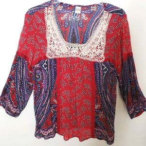 Bila Boho Large Top Paisley Red Blue White Floral